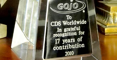 We are very proud of our contribution to our clients' success.  In this case, we were officially recognized for our contribution to the Asia Pacific success of GOJO Industries, maker of GOJO®, PROVON® and PURELL® brands of skin care products.  CDS Worldwide is an experienced team of experts that works closely with its clients and customers worldwide.  For companies who have little or no international market share, who either don't know how to begin...or wish to improve their existing marketing efforts internationally, CDS Worldwide is the answer! We partner with our clients to recognize their highest-value opportunities, address their most critical challenges, and transform their enterprises into high performing organizations. Our customized approach combines deep insight into the capabilities of companies and their targeted international markets. In close collaboration at all levels of a client's organization, this focus ensures that our clients achieve sustainable competitive advantage, build more capable organizations, and secure lasting results. Companies like Bay West Paper Company, Claire Aerosols, Continental Plastics, GOJO Industries, Nilodor Incorporated, Wausau Paper Corporation (and many more) have greatly benefited from our services... and you can too.